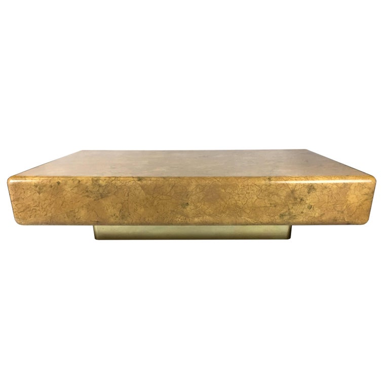 American Monumental Parchment Clad Cocktail Table with Brass Base For Sale