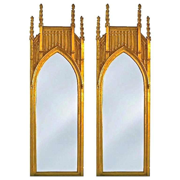 Pair of Pugin Gothic Giltwood Mirrors ~9 feet tall