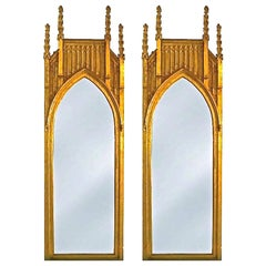 Pair of Pugin Gothic Giltwood Mirrors ~9 feet tall