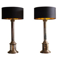 Large Pair of Silver Plate Column Table Lamps