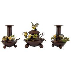 Antique cold painted Vienna bronze desk set with birds, inkwell & 2 vases 1900