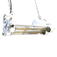 Mid-Late Century Industrial Aluminium and Brass Flame Proof Strip Light - White
