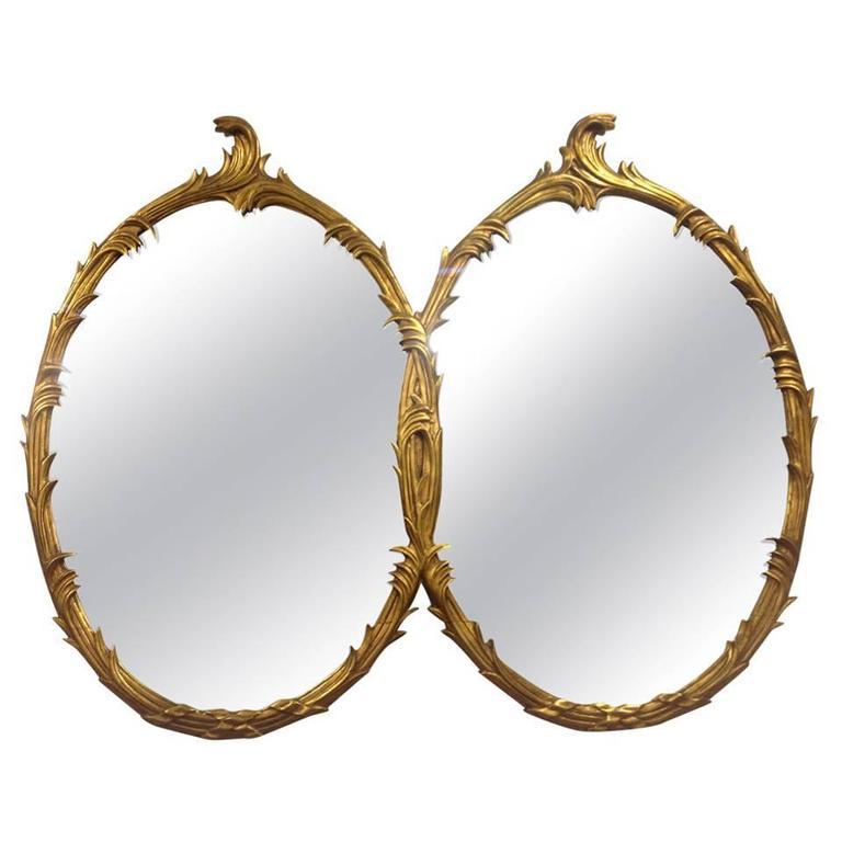 Dual Interlocking Oval Hollywood Mirrors