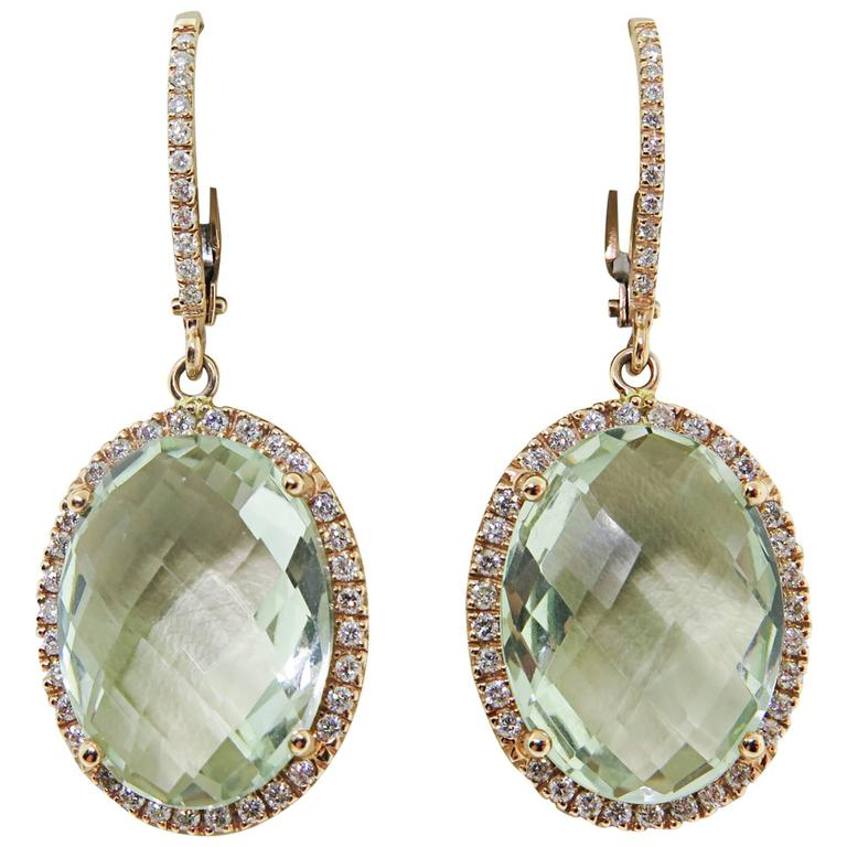 Zoccai Amazing Green Amethyst Gold Drop Earrings For