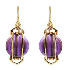 Doppio Smooth Amethyst Gold French Wire Dangle Earrings