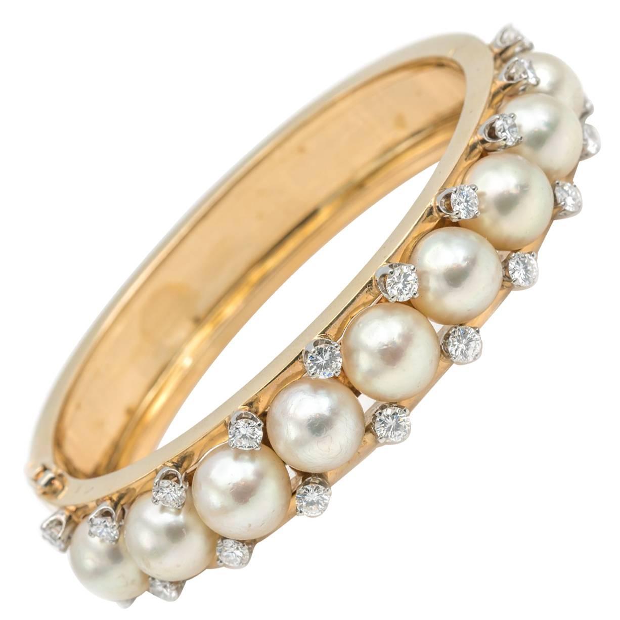 1950's Pearl and Diamond Gold Bangle Bracelet