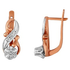 0.46 Carats Diamond Rose Gold Russian Style Earrings