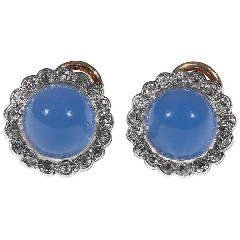 Blue Chalcedony Diamond Earrings 1