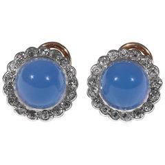 Blue Chalcedony Diamond Earrings