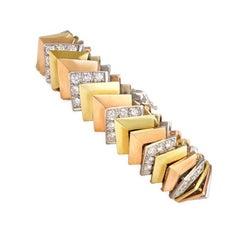 Jose Hess Three-Color Gold and Diamond Chevron Link Bracelet.