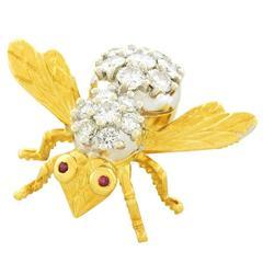 Herbert Rosenthal Diamond Bee Pin in Gold