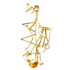 "1963 Georges Braque Brilliant Cut Diamond Gold  ""Hermes"" Brooch"