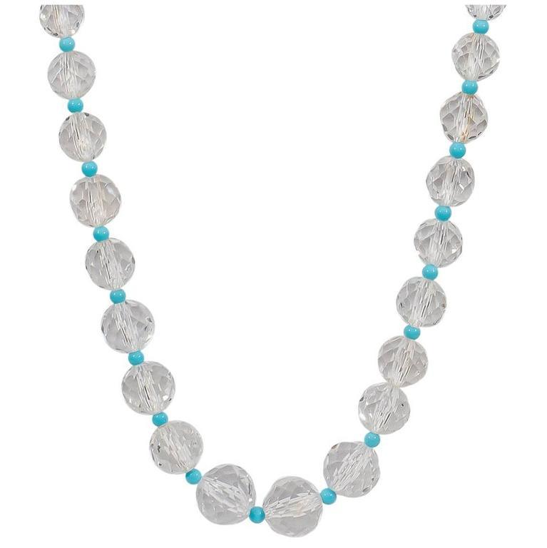 Naomi Sarna Turquoise Crystal Diamond Gold Necklace