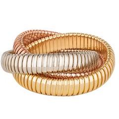 Handmade Tri-Color Gold Three-Strand 12mm Tubogas Rolling Bangle Bracelet