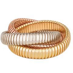Handmade Tri-Color Gold Three-Strand Tubogas Rolling Bangle Bracelet