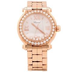 Chopard Ladies Rose Gold Happy Sport Quartz Wristwatch Ref 277481-5001