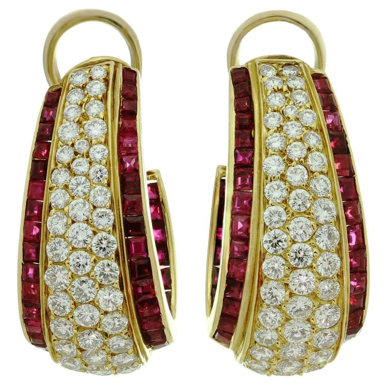 VAN CLEEF & ARPELS Diamond Ruby Clip-On Earrings