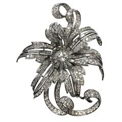 1950s French 10 Carats of Diamonds Platinum Large Flower Brooch