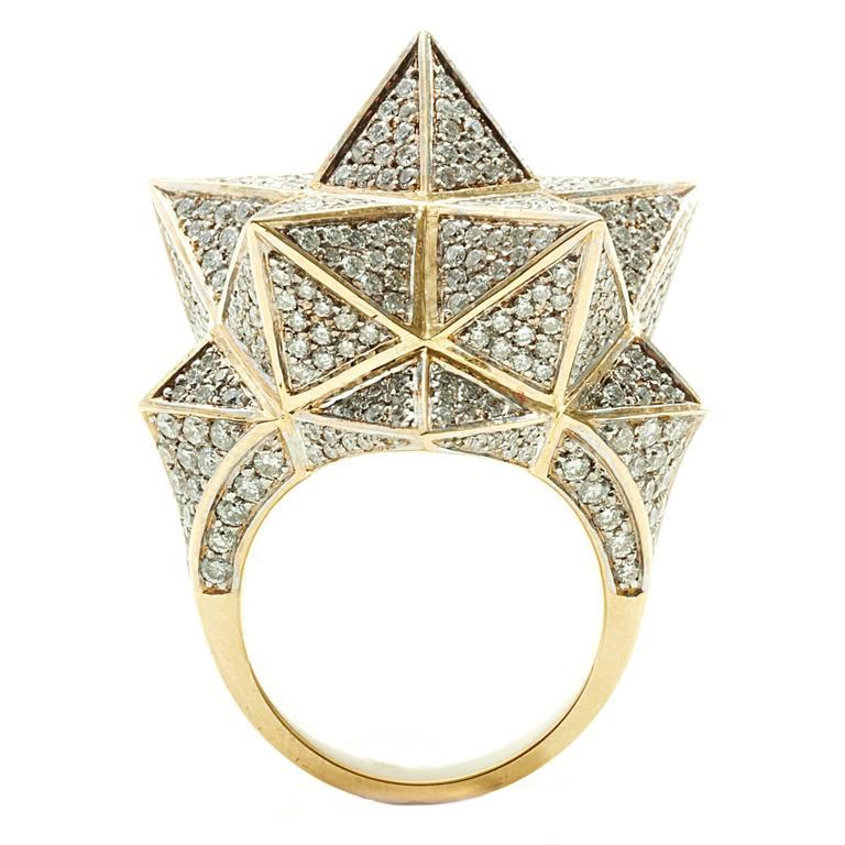 Tetra Full Pave Diamond Gold Ring
