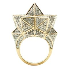 Tetra Full Pave Diamond Gold Ring
