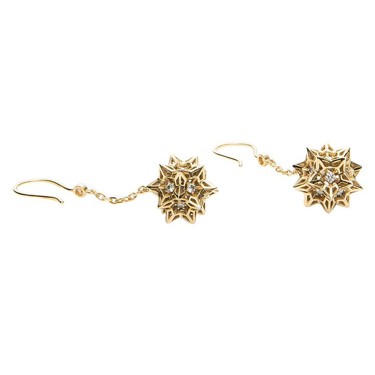 Helix Frame Diamond Dangle Gold Earrings