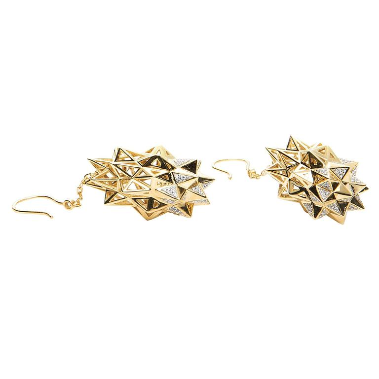 Stellated Diamond Gold Dangle Earrings For Sale