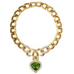 Henry Dunay GIA Cert 61.97 Carat Peridot Diamond gold Heart Pendant Necklace