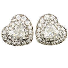 Bulgari Diamond 18 Karat White Gold Platinum Heart-Shaped Earrings