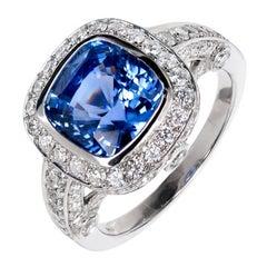Peter Suchy 3.91 Carat Cushion Sapphire Diamond Halo Platinum Engagement Ring
