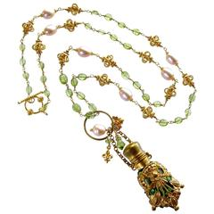 Victorian Chatelaine Scent Bottle Necklace Peridot Pink Pearls