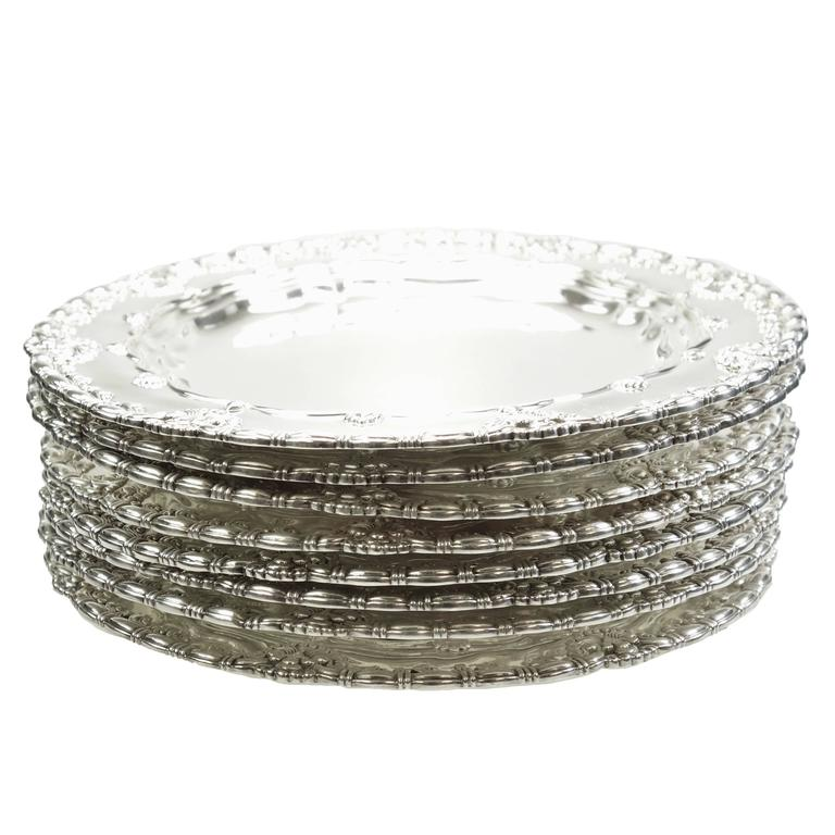Tiffany & Co. Sterling Silver Plates Set of Ten, Circa 1905 For Sale