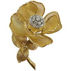 diamond gold platinum Eglantine brooch