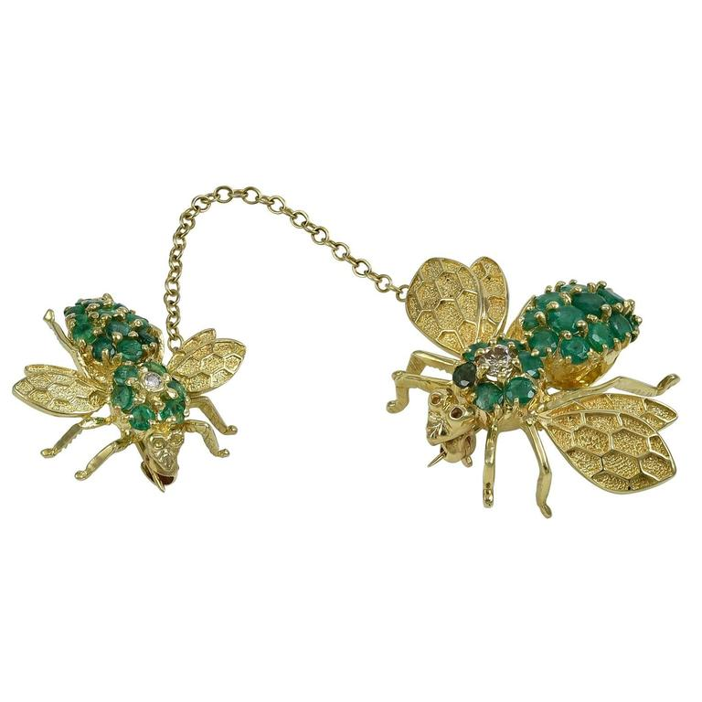 Mother and Baby Emerald, Diamond & Gold Bee Pins