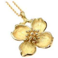 Tiffany & Co. gold Dogwood Flower Pendant Necklace