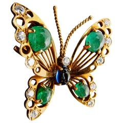 1940s Van Cleef & Arpels Blue Sapphire Emerald Diamond Gold Brooch