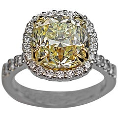 5.37 Carat Fancy Light Yellow Old Cushion Cut Diamond Engagement Ring