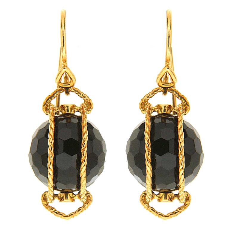 Doppio Black Onyx Gold Twisted Rope Earrings 1