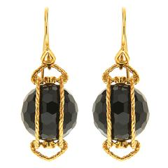 Doppio Black Onyx Gold Twisted Rope Earrings