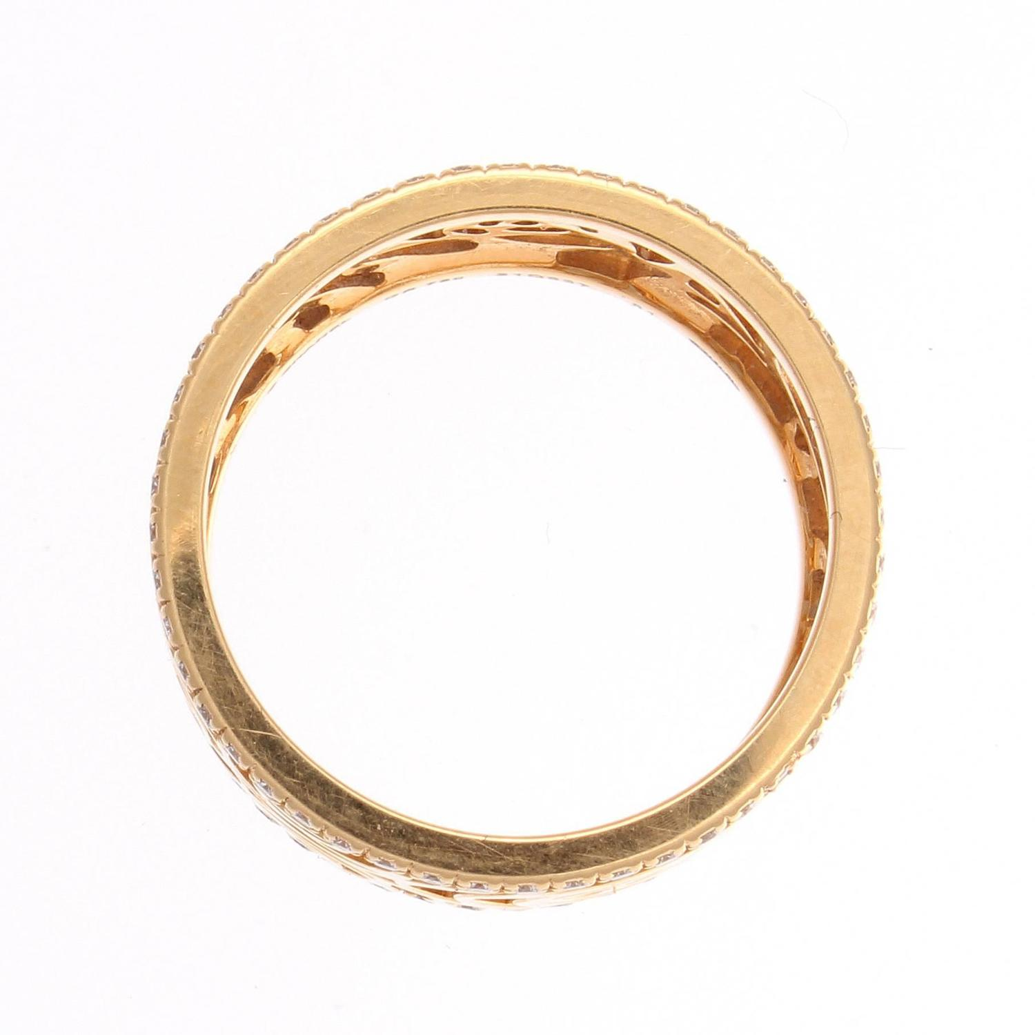 chanel camellia ajoure wide gold band ring at 1stdibs