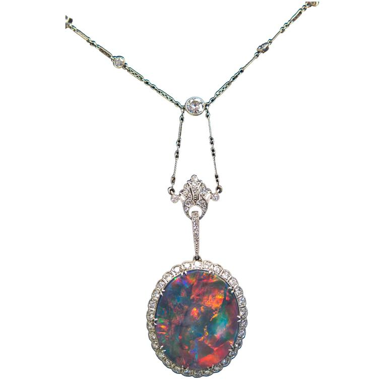 Extraordinary Edwardian Lightning Ridge Black Opal Diamond Necklace 1