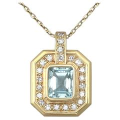 2.49Ct Aquamarine & 0.60Ct Diamond, 18k Yellow Gold Pendant - Vintage Circa 1950