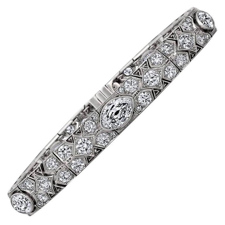 Cartier Magnificent Art Deco Diamond Platinum Bracelet For Sale