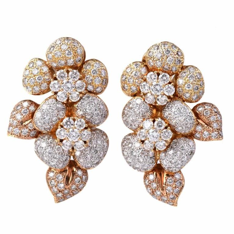 Large Diamond  Cluster clip-on 18k  Gold Earrings 1