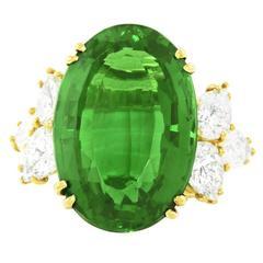 Spectacular 18.36ct Chrome Tourmaline and Diamond Ring