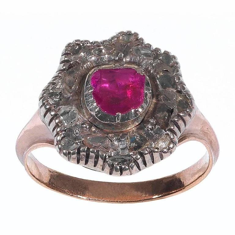 Georgian Ruby Diamond silver gold Cluster Ring