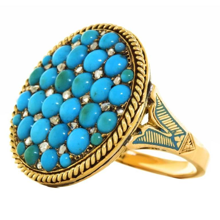 Antique Enamel Persian Turquoise Diamond Roped Gold Ring 1