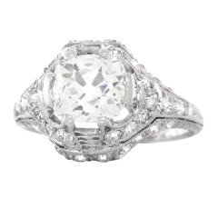 Art Deco 1.68ct Diamond Platinum Engagement Ring