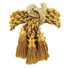 A Gorgeous Gold, Platinum and Diamond Tassel Bracelet.