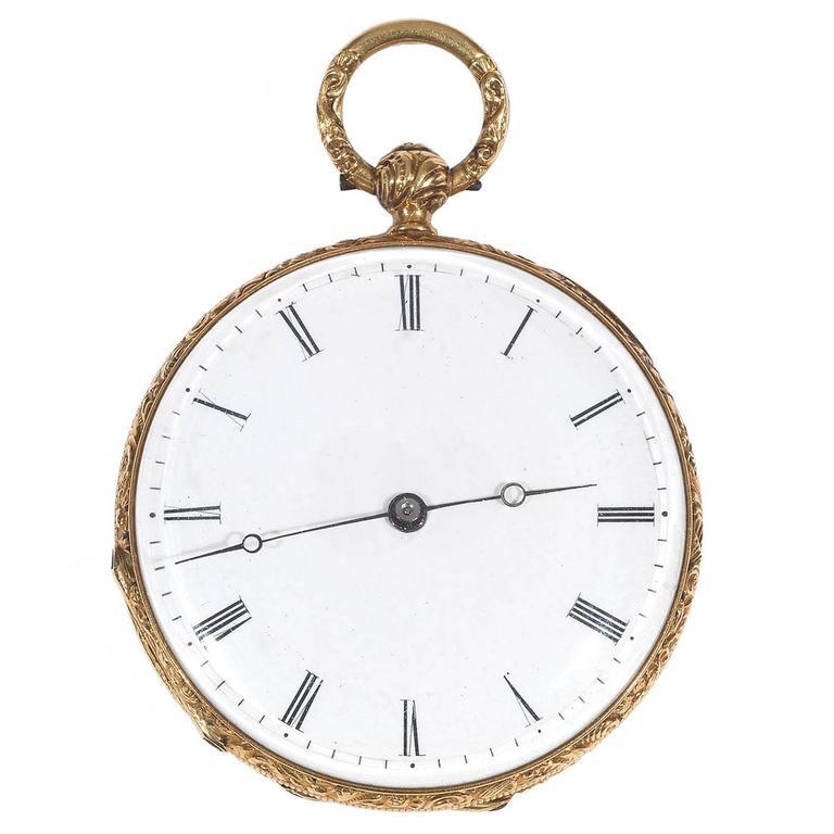 Courvoisier Geneve Yellow Gold Enamel Key Wound Open Face Pocket Watch
