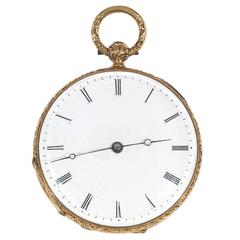 Courvoisier Geneve Yellow Gold Enamel Key Wound Open Face Pocket Watch